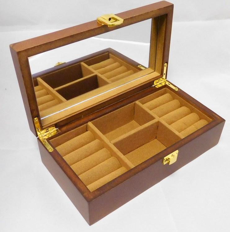 Hnědá dřevěná šperkovnice se čtyřmi boxy MSW55 s proskleným víkem