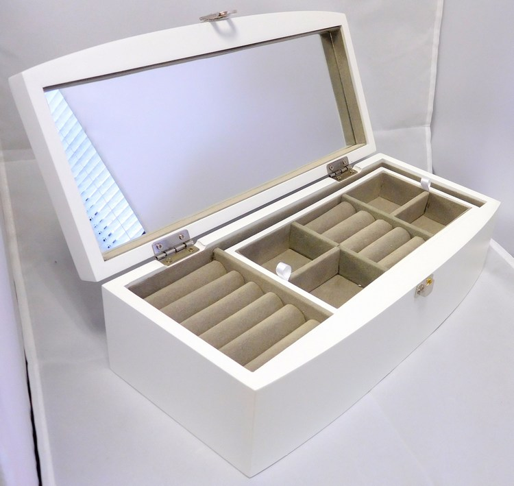 Velká bílá dřevěná šperkovnice se skytým patrem MSW30W s proskleným víkem (jednopatrová bílá šperkovnice)