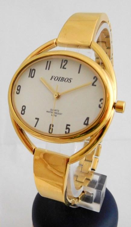 Celozlaté ocelové šperkové dámské hodinky Foibos 28292 (s přehledným  číselníkem) 254bb762ec