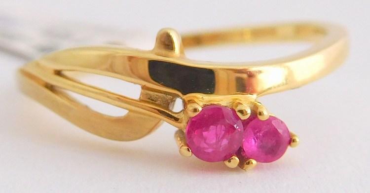 Diamantový prsten ze žlutého zlata s červeným rubínem vel. 54 585/1,92gr 2058046 (2058046 - POŠTOVNÉ ZDARMA)