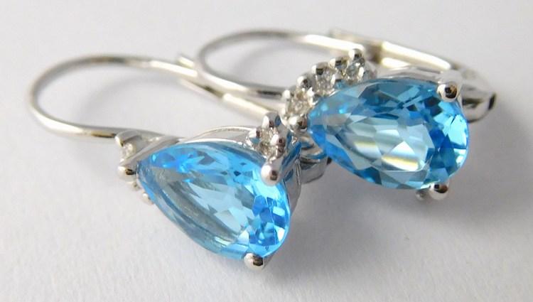 Zlaté diamantové náušnice s brilianty a modrými topazy 585/1,60gr 3880062 (3880062 - POŠTOVNÉ ZDARMA SKLADEM A IHNED ODESÍLÁME!!)