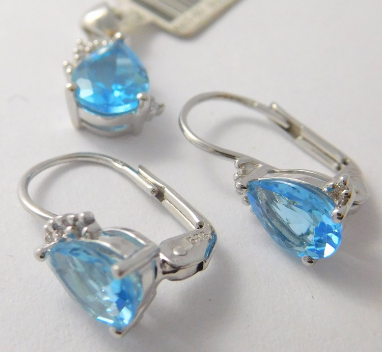 Zlatá diamantová souprava s brilianty a BLUE TOPAZY 585/2,40gr 3880062 a 3870153 (3880062 a 3870153 - POŠTOVNÉ ZDARMA )