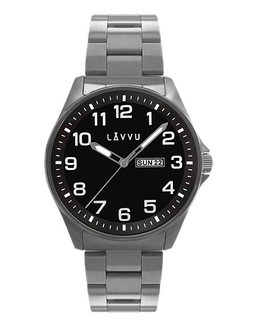 Vodotěsné ocelové pánské hodinky LAVVU BERGEN Black LWM0012 (POŠTOVNÉ ZDARMA!!)