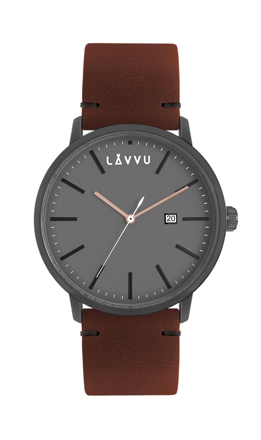 Červeno-hnědé pánské hodinky LAVVU COPENHAGEN WOODS s koženým páskem LWM0033 (POŠTOVNÉ ZDARMA!!! LWM0033)