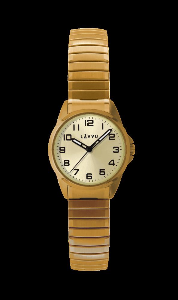 Pružné přehledné dámské hodinky LAVVU STOCKHOLM Small Champagne LWL5013 (POŠTOVNÉ ZDARMA!! - natahovací pérový pásek)