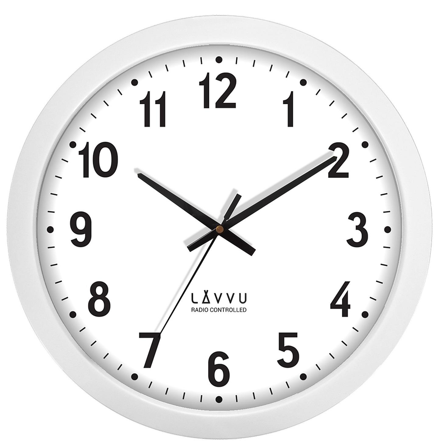 Velké bílé hodiny LAVVU řízené rádiovým signálem LCR2020 (rádiem řízené hodiny)