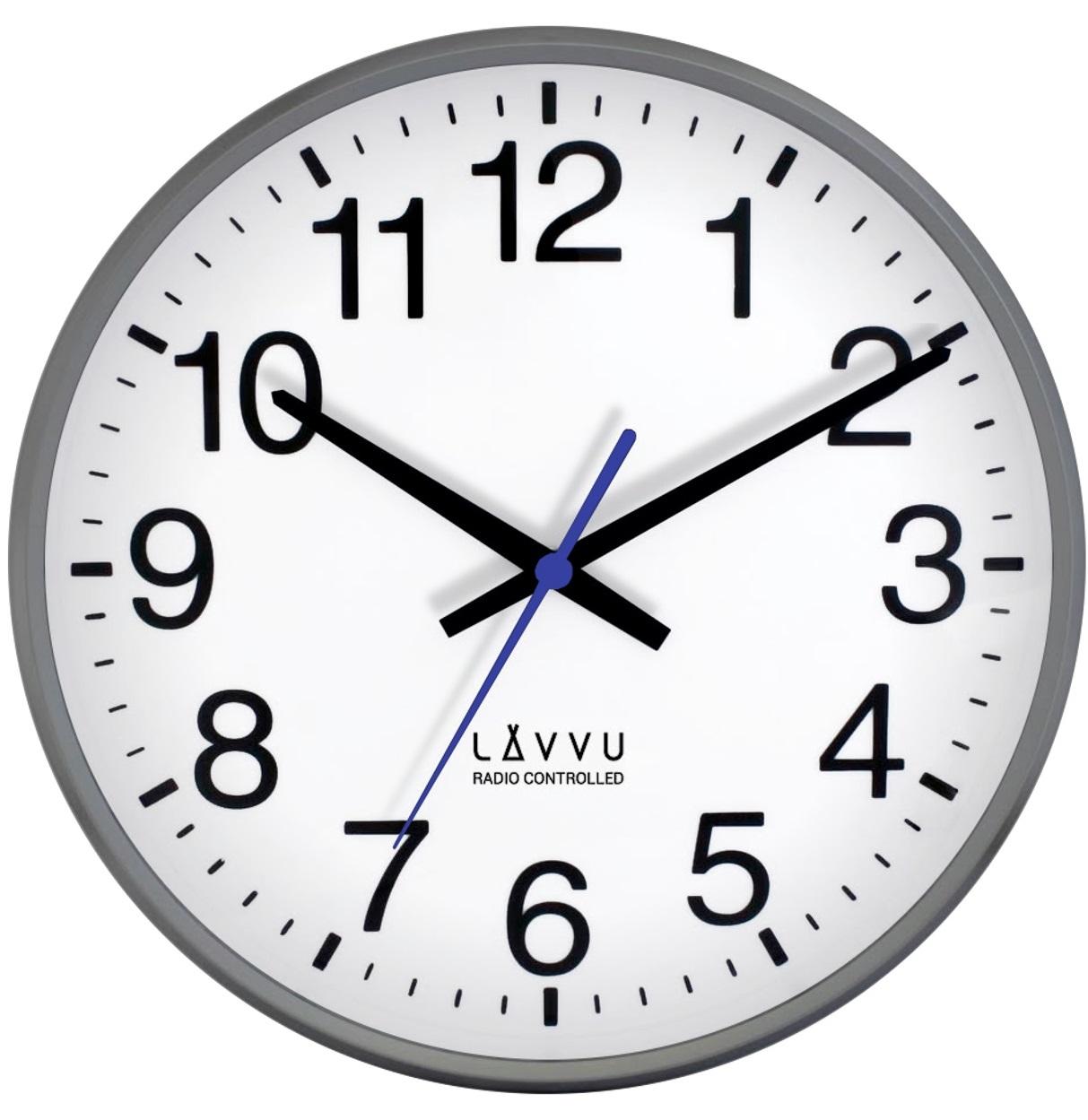 Metalické hodiny LAVVU FACTORY Metallic Grey řízené rádiovým signálem LCR2011 (rádiem říze