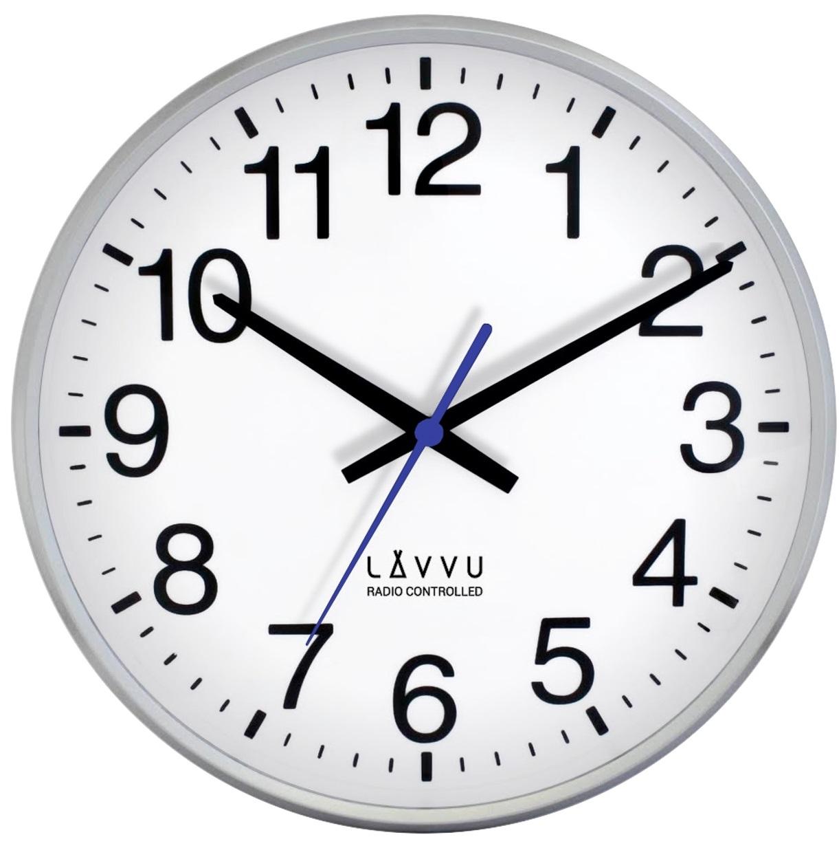 Stříbrné hodiny LAVVU FACTORY Metallic Grey řízené rádiovým signálem LCR2010 (rádiem říz