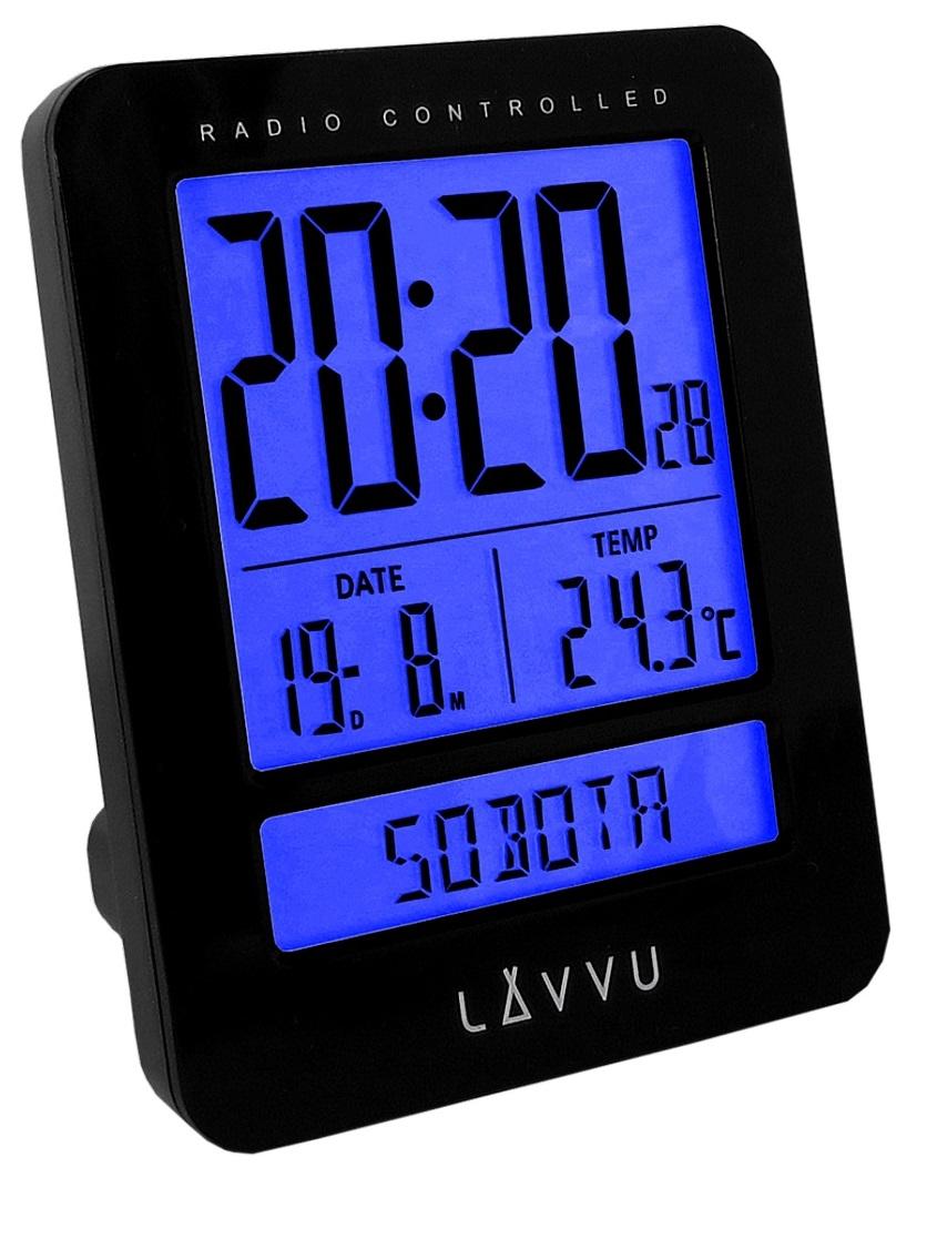 Digitální budík řízený rádiovým signálem LAVVU Duo Black LAR0021