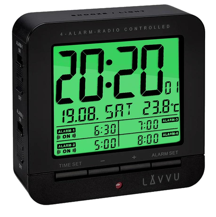 Digitální budík řízený rádiovým signálem LAVVU Black Cube LAR0011