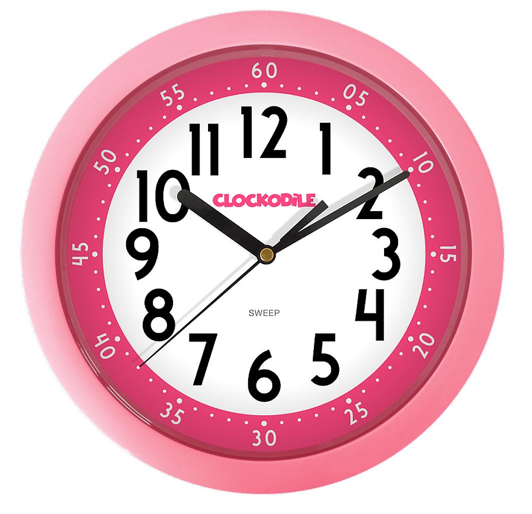 Netikající tiché růžové dětské hodiny CLOCKODILE CCS2011