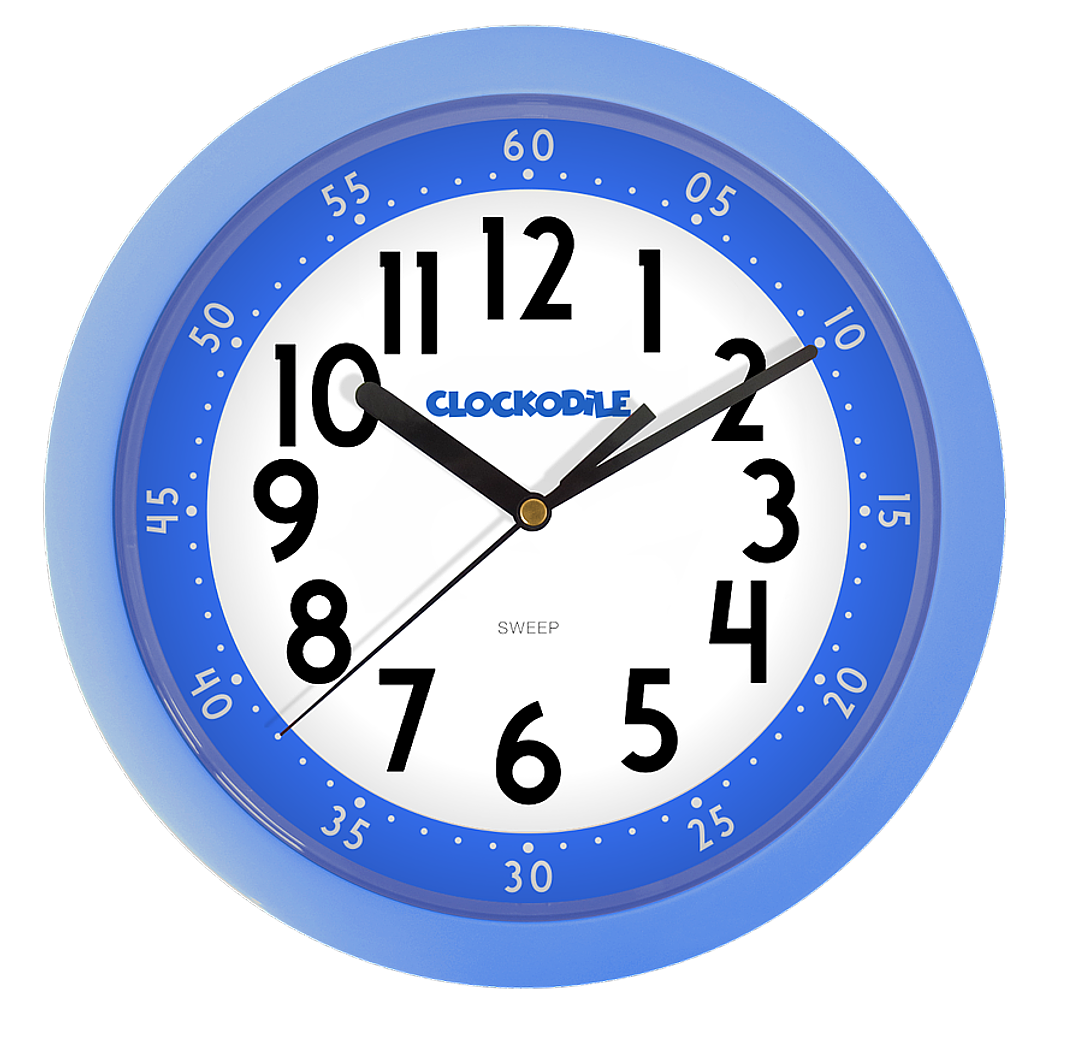 Netikající tiché modré dětské hodiny CLOCKODILE CCS2010