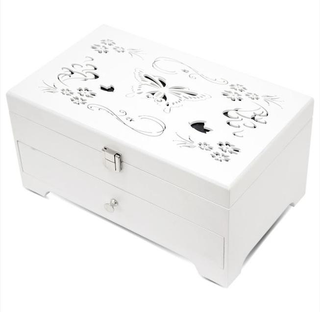 Bílá dřevěná zdobená dvoupatrová šperkovnice 113557