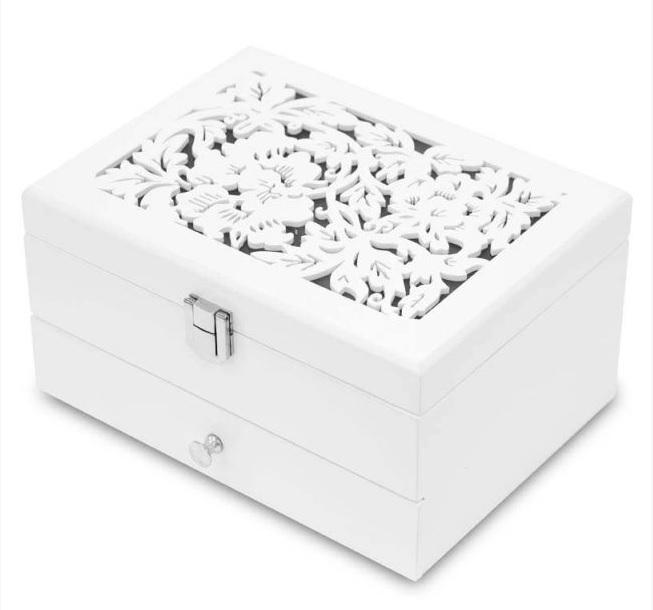 Bílá dřevěná zdobená dvoupatrová šperkovnice 113547