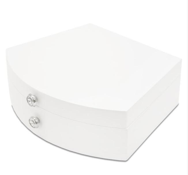 Bílá dřevěná jednopatrová šperkovnice 113555