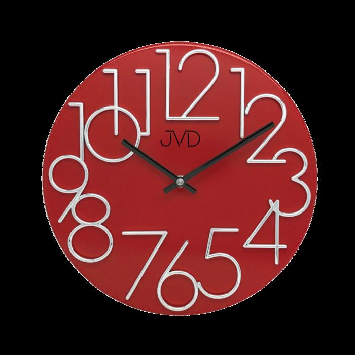 Kovové designové nástěnné červené hodiny JVD HT23.7 (POŠTOVNÉ ZDARMA!!)