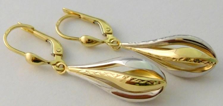 Mohutné gravírované zlaté visací náušnice z bílého, žlutého zlata 585/2,58g H015 (POŠTOVNÉ ZDARMA!!!!)