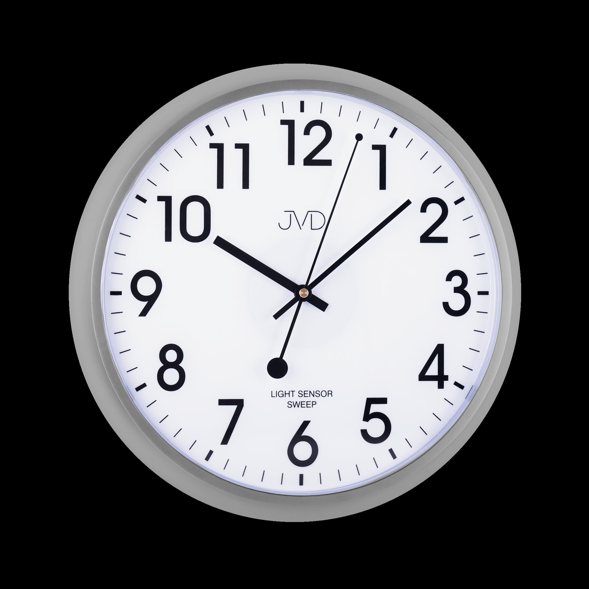 Plastové hodiny JVD sweep HP698.4 - metalicky šedé (netikající hodiny se senzorem podsvícení)