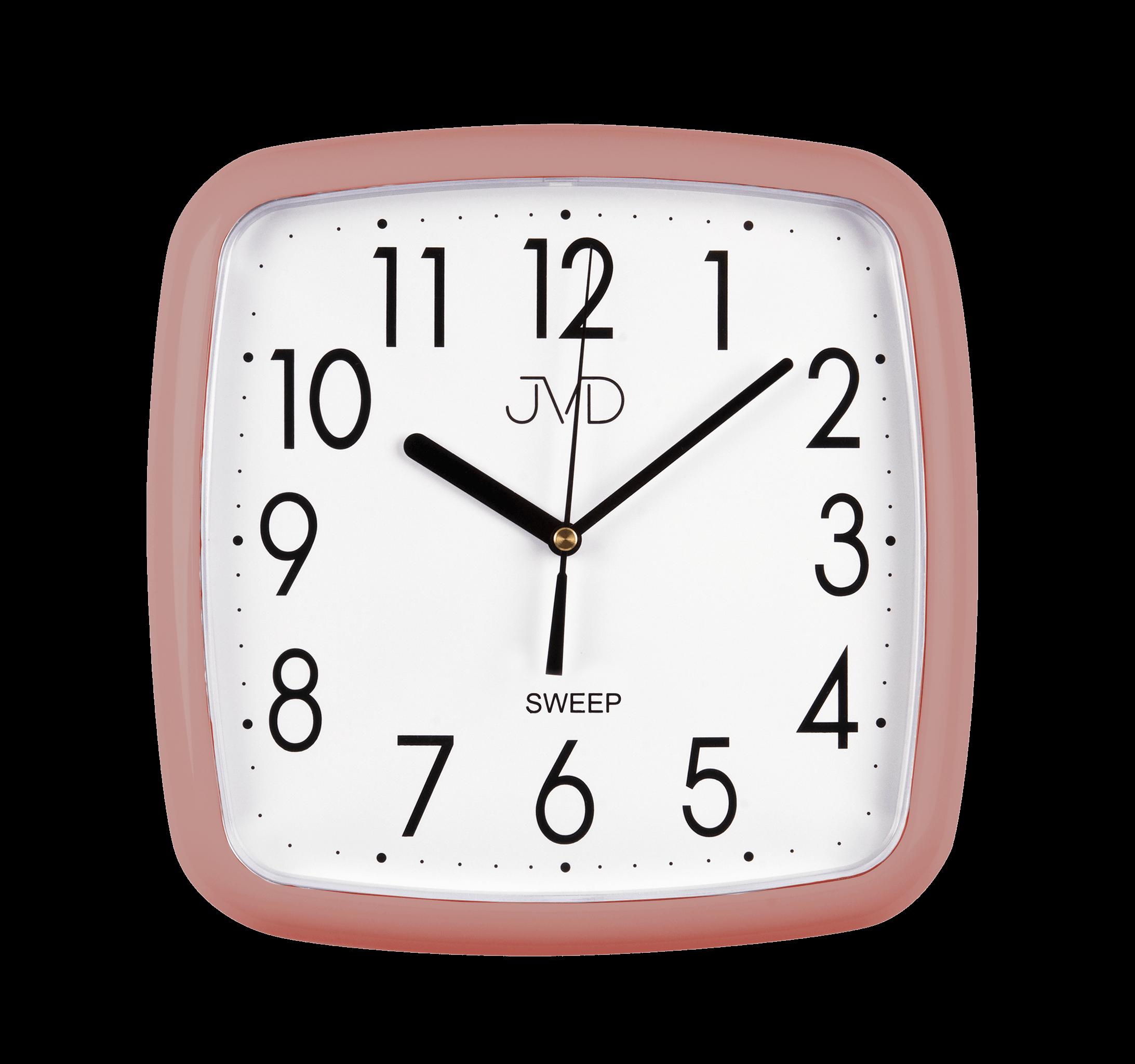 Metalické hranaté nástěnné hodiny JVD sweep HP615.18 ROSE (netikající tiché hodiny)