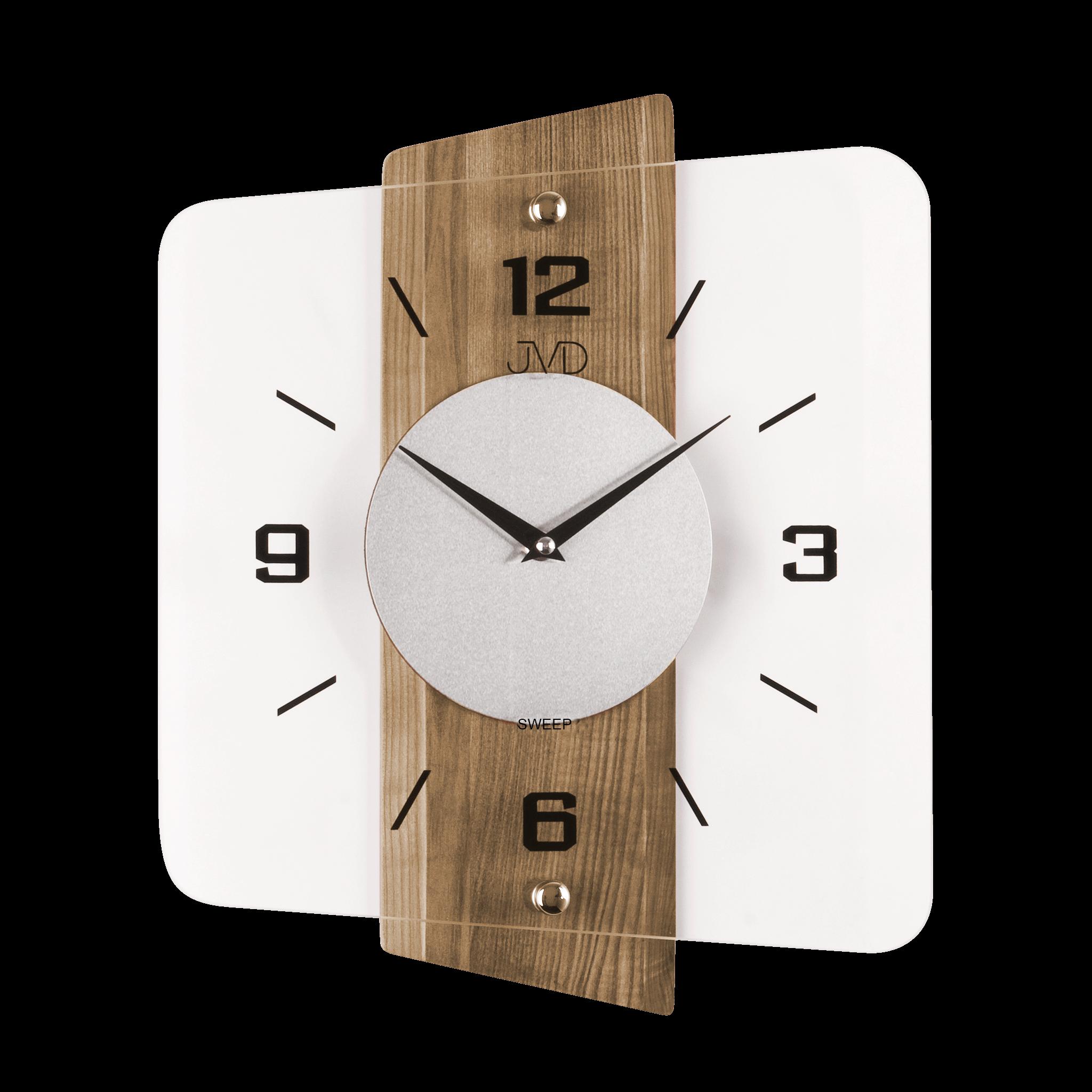 Skleněné dřevěné netikající tiché nástěnné hodiny JVD NS20131/78 (tiché netikající hodiny s plynulým chodem)