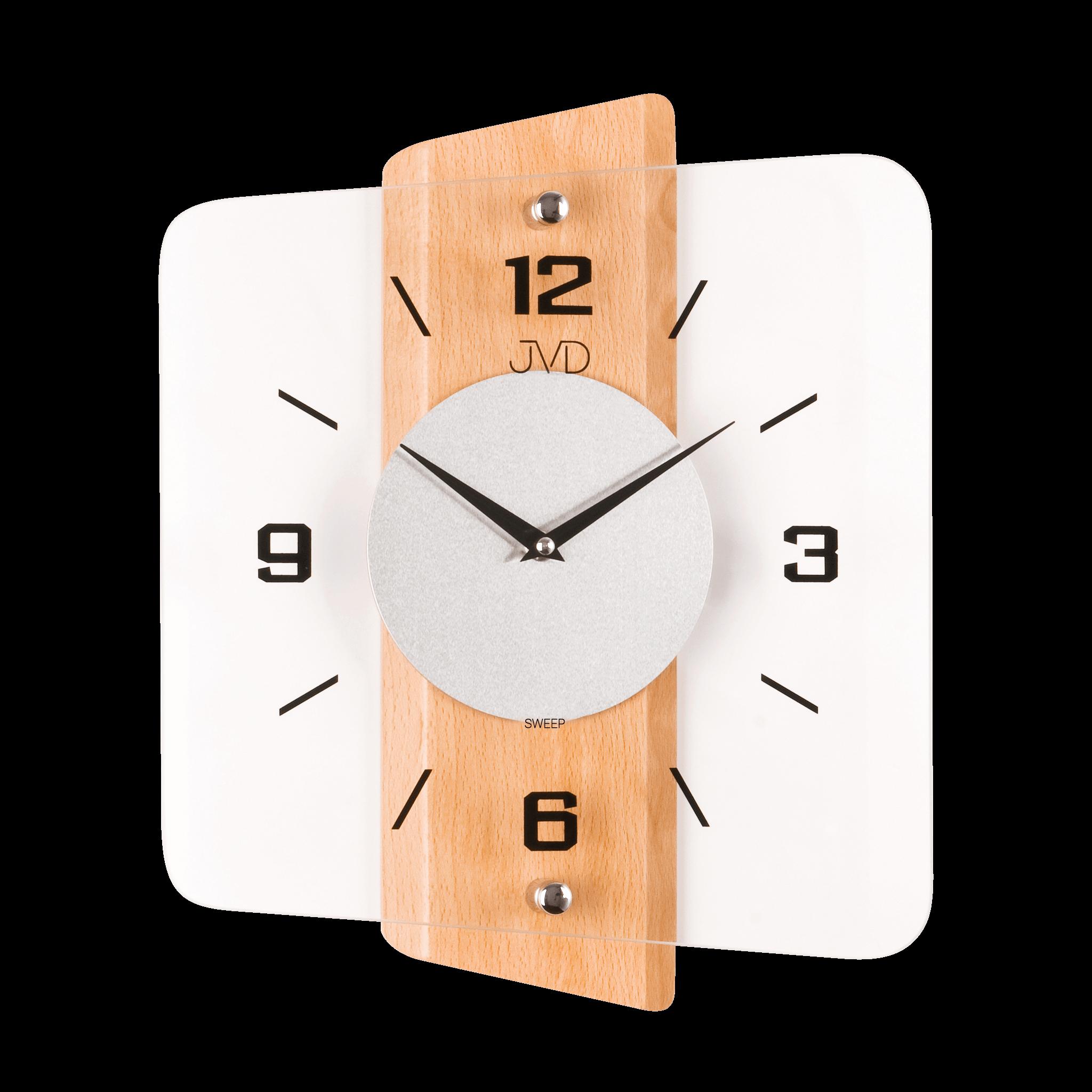 Skleněné dřevěné netikající tiché nástěnné hodiny JVD NS20131/68 (tiché netikající hodiny s plynulým chodem)