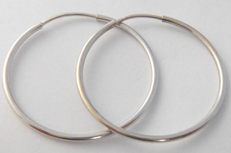 Velké plné hladké zlaté kruhy z bílého zlata 30mm/3,0cm 585/1,87gr H025