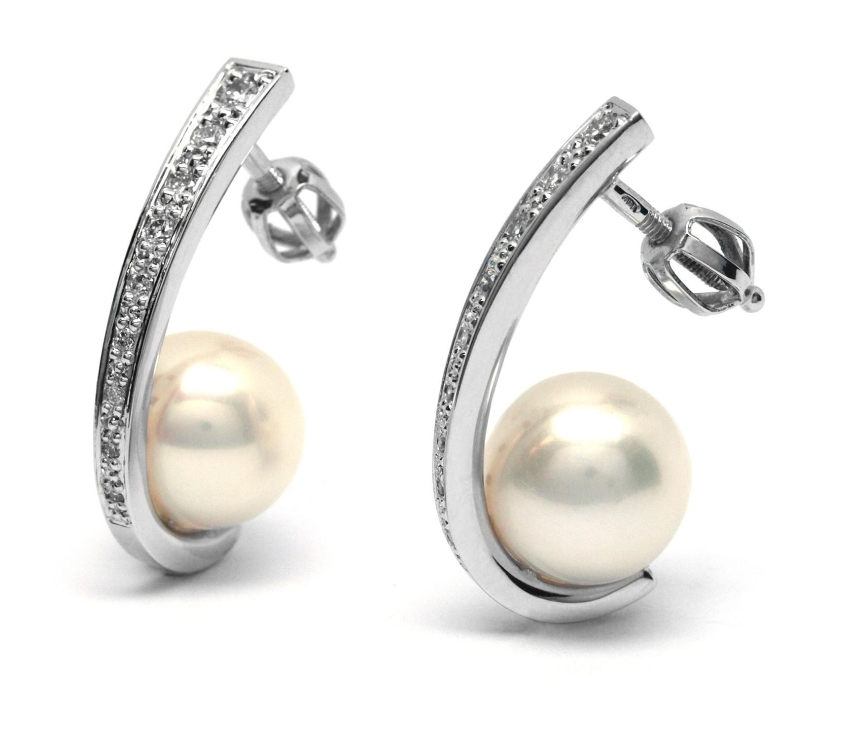 Ručně vyrobené náušnice z bílého zlata s perlami a diamanty J-28711-17 (J-28711-17 - POŠTOVNÉ ZDARMA!!)