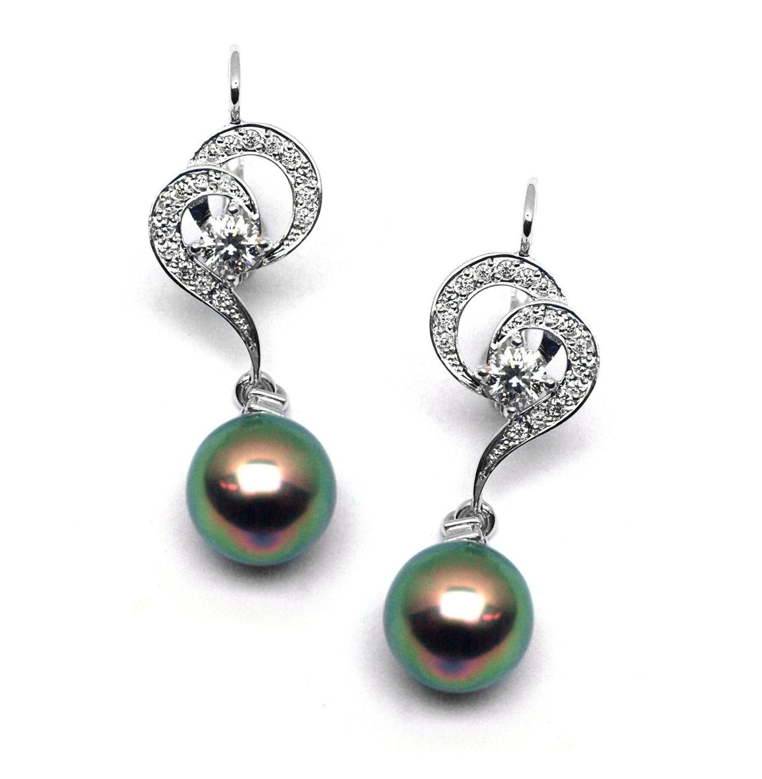 Diamantové zlaté náušnice Náušnice s tahitskými perlami a diamanty J-28334-17 (J-28334-17 - POŠTOVNÉ ZDARMA!!)