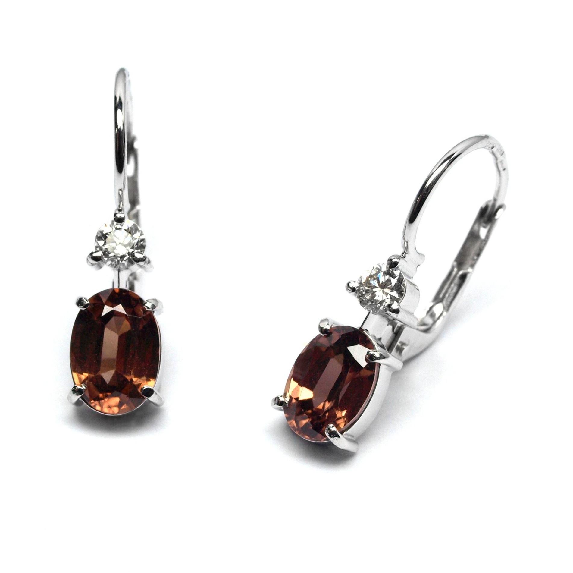 2e3038711f4 Ručně vyrobené náušnice z bílého zlata s přírodním zirkonem a diamantem  J-28442- (