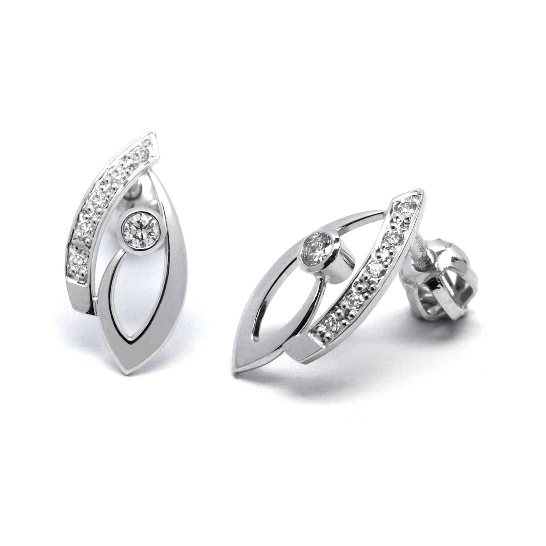 Ručně vyrobené náušnice z bílého zlata s diamanty J-28706-17 na šroubek (J-28706-17 - POŠTOVNÉ ZDARMA!!)
