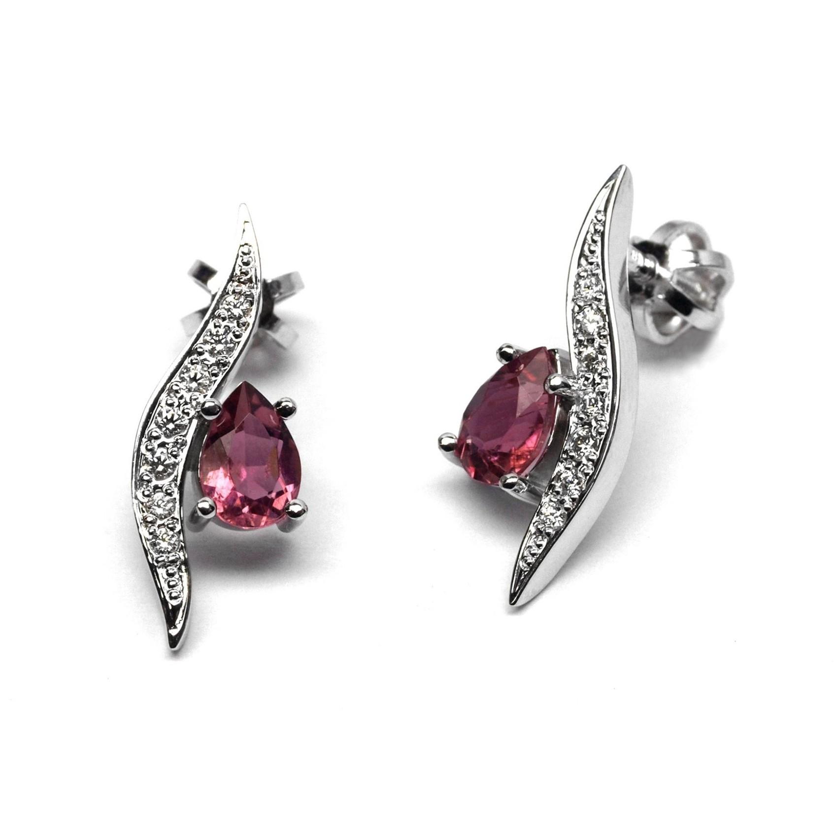 Luxusní náušnice s růžovými turmalíny a diamanty J-28155-17 na šroubek (J-28155-17 - POŠTOVNÉ ZDARMA!!)