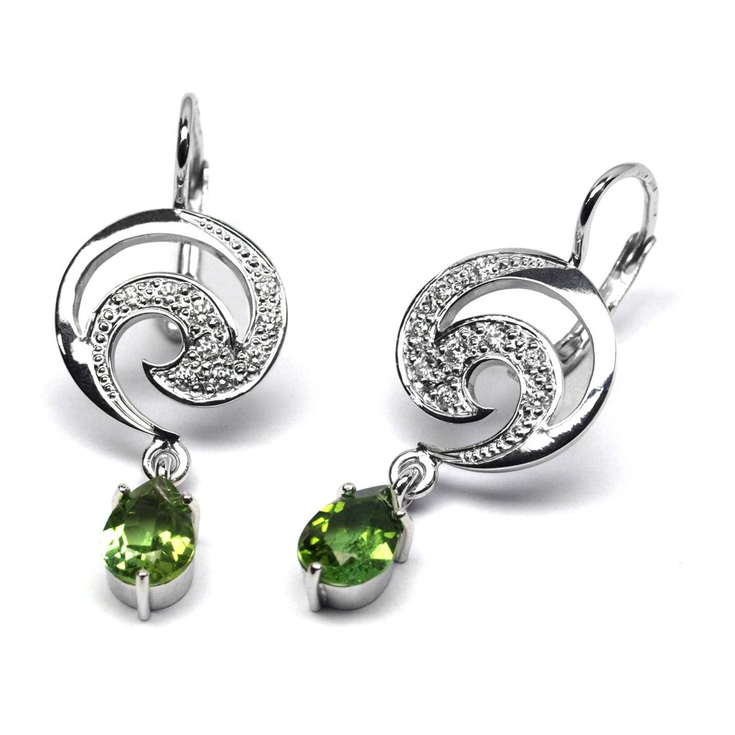 Diamantové zlaté náušnice s turmalíny a diamanty J-28496-17 (J-28496-17 - POŠTOVNÉ ZDARMA!!)