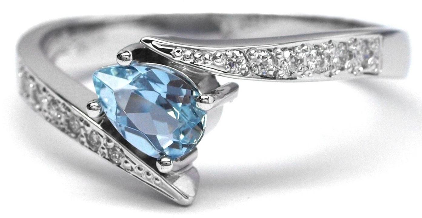 Luxusní diamantový prsten s akvamarínem a diamanty J-28158-17