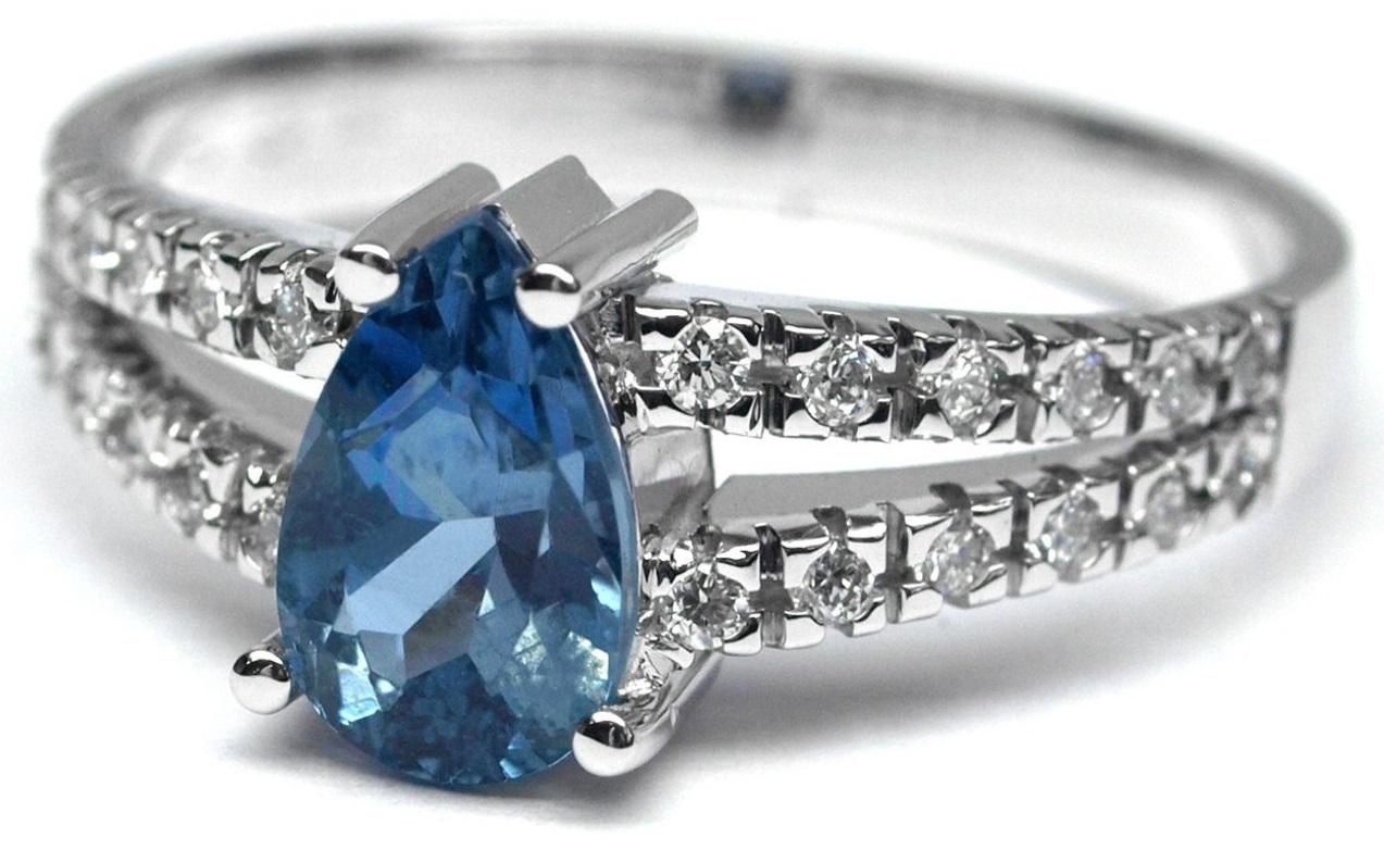 Ručně vyrobený prsten z bílého zlata s akvamarínem a diamanty J-28738-17
