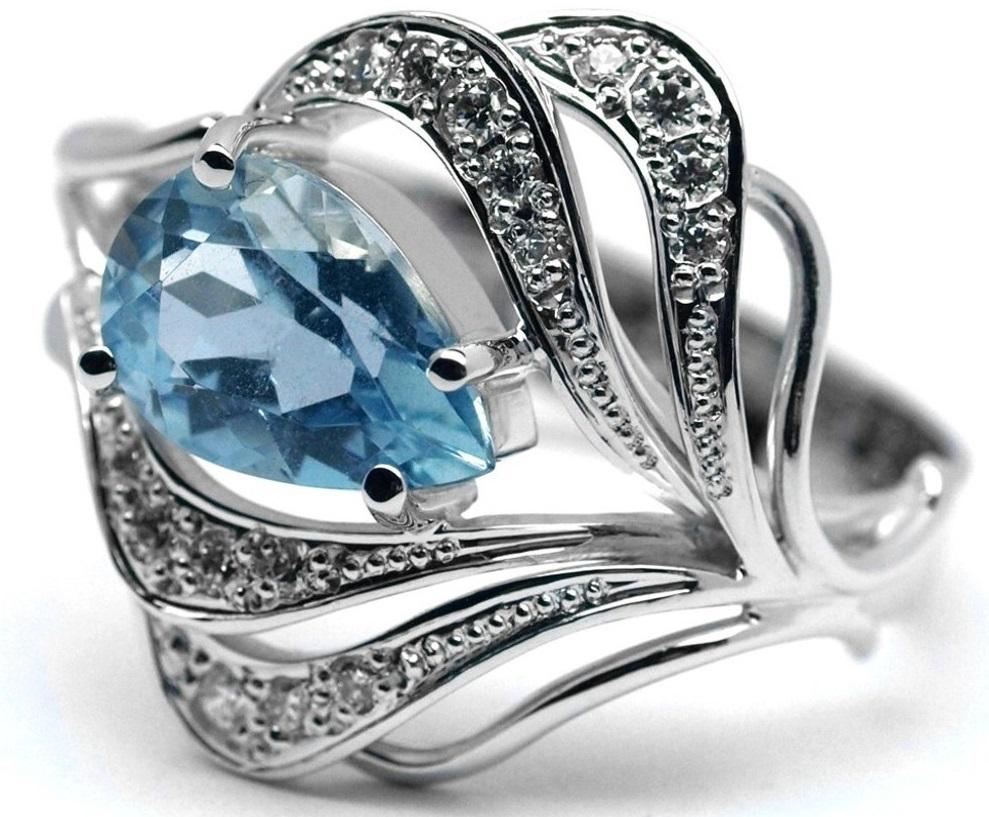 Ručně vyrobený prsten z bílého zlata s akvamarínem a diamanty J-28486-17