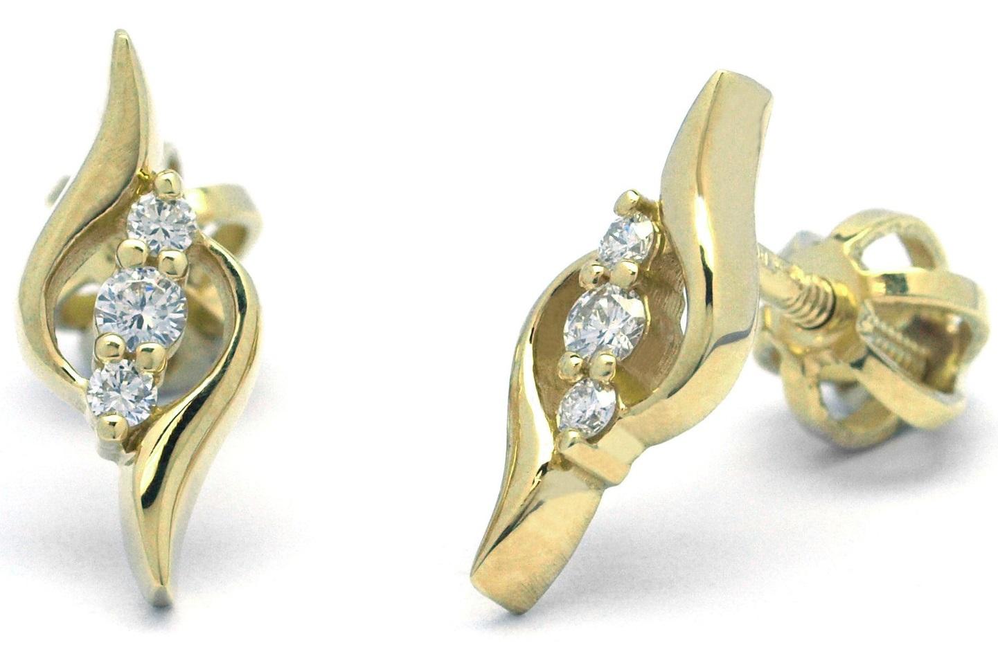 Diamantové zlaté náušnice z žlutého zlata na šroubek J-29999-18 (J-29999-18 - POŠTOVNÉ ZDARMA!!)