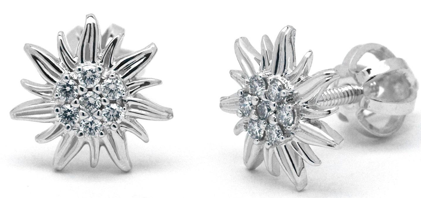 Náušnice z bílého zlata s diamanty se zapínáním na šroubek J-30005-18 (J-30005-18 - POŠTOVNÉ ZDARMA!!)