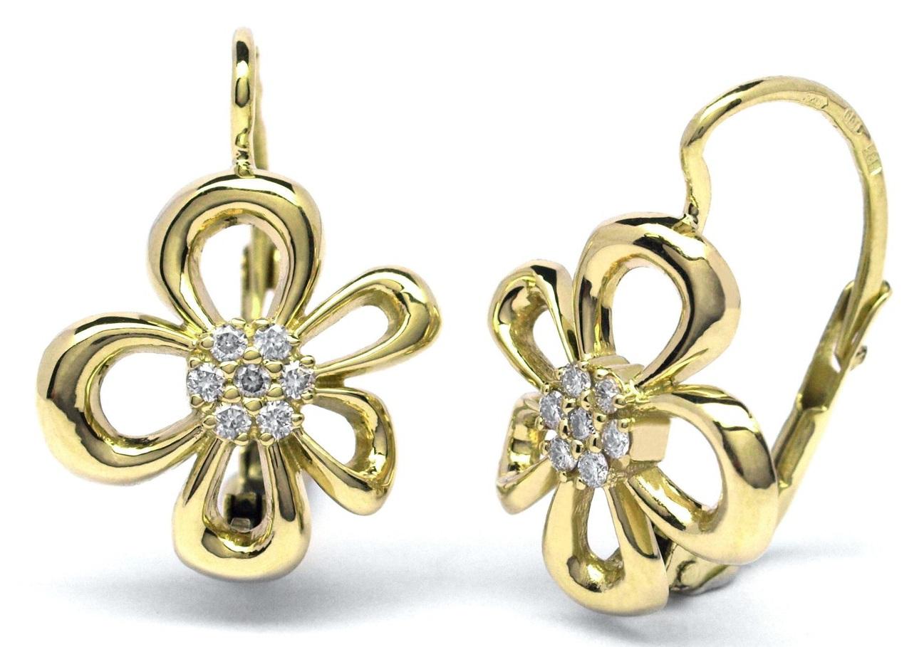 Zlaté diamantové náušnice ze žlutého zlata s diamanty J-30002-18 (J-30002-18 - POŠTOVNÉ ZDARMA!!)