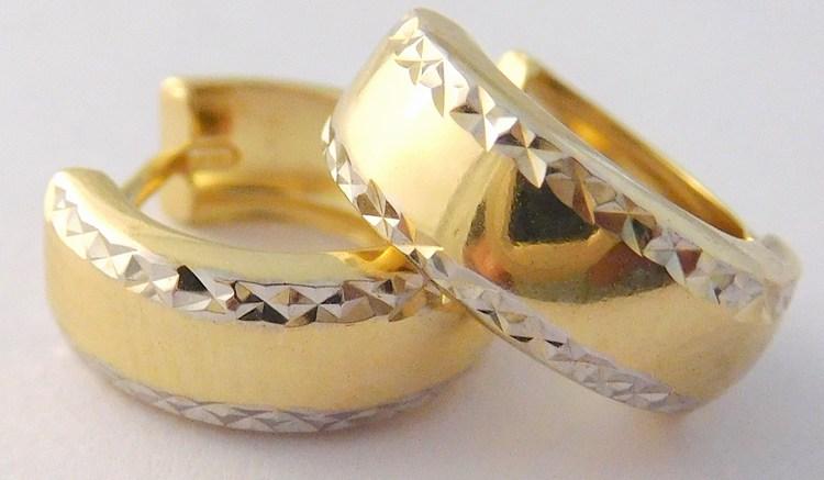 Zlaté gravírované kurhy z bílého a žlutého zlata - náušnice 585/1,20gr H994 (POŠTOVNÉ ZDARMA!!!!)