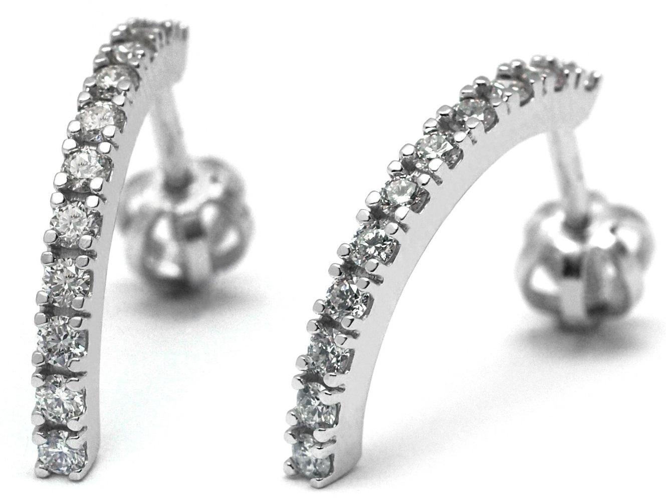 Luxusní zlaté náušnice s diamanty z bílého zlata na šroubek J-28179-17 (J-28179-17 - POŠTOVNÉ ZDARMA!!)