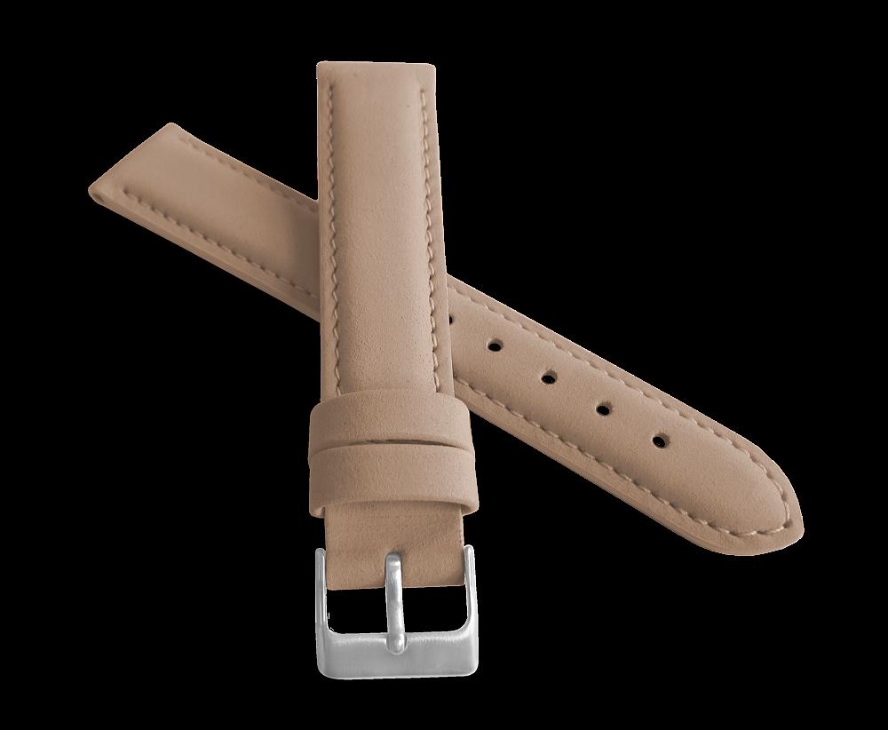 Světle hnědý prošitý kožený řemínek MINET z jemného nubuku - 18mm na hodinky (řemínek, pásek na hodinky)