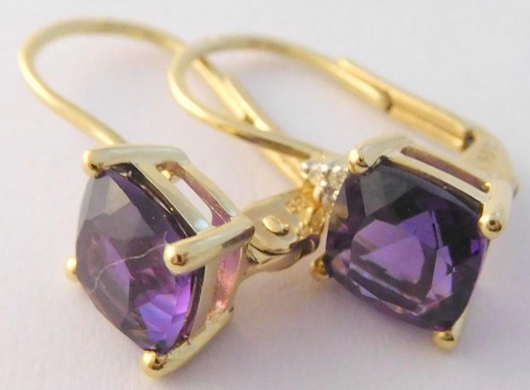 Mohutné diamantové zlaté náušnice s velkými fialovými ametysty 585/1,85g 3830189 (POŠTOVNÉ ZDARMA!!)