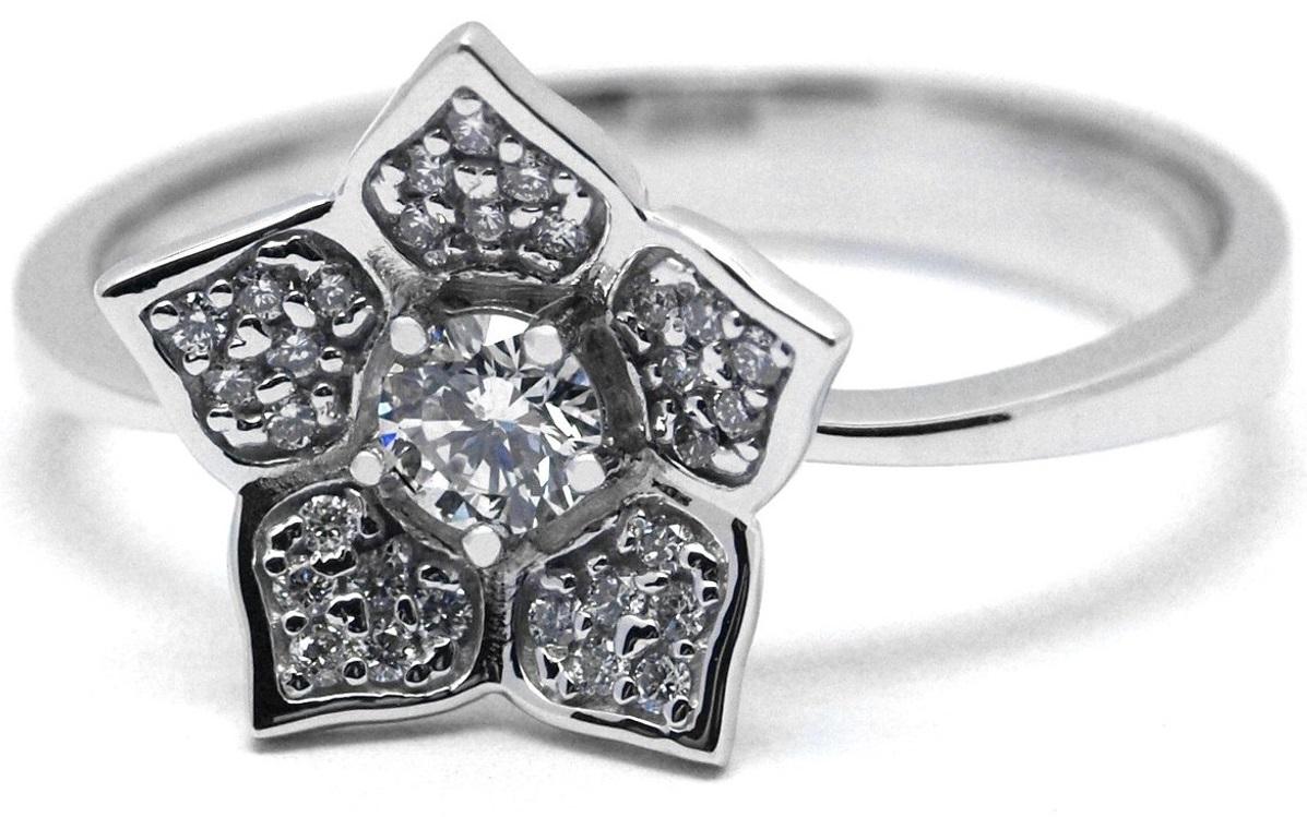 Luxusní diamantový zlatý prsten s diamanty - květ J-28397-17