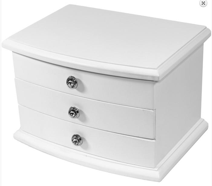 Bílá dřevěná třípatrová šperkovnice s proskleným víkem (3 x šuplíky) 101524 (třípatrová bílá šperkovnice 26953/101524)