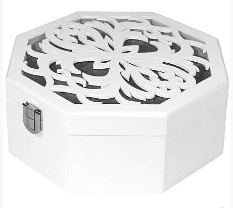 Bílá dřevěná zdobená šperkovnice s proskleným víkem ve tvaru osmiúhelníku 101471 (zdobená bílá šperkovnice22138/101471)