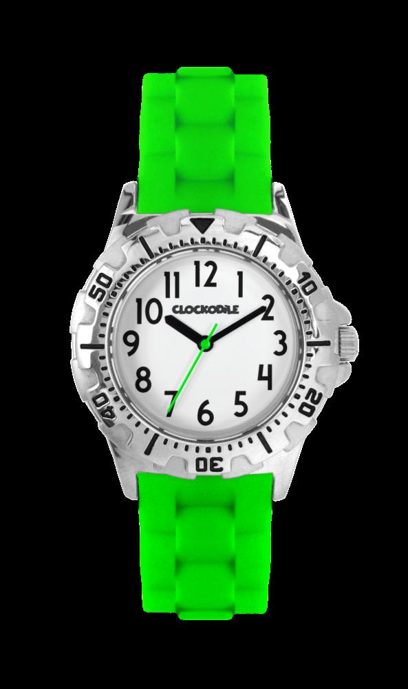 Svítící neonově zelené sportovní chlapecké hodinky CLOCKODILE SPORT 2.0 CWB0025 (chlapecké sportovní hodinky se svítícím luminiscenčním číselníkem)