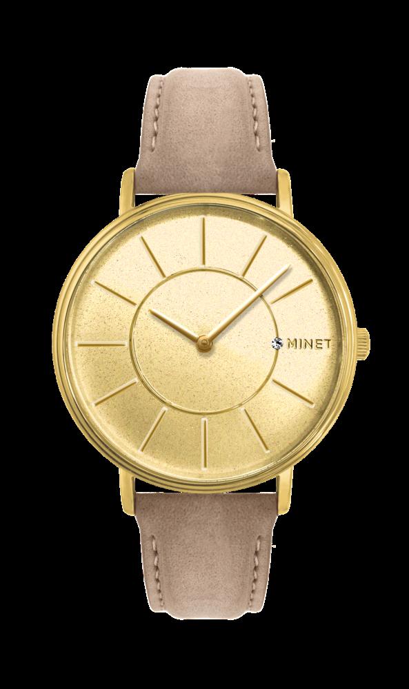 Třpytivé zlato-hnědé dámské hodinky MINET BROADWAY SPARKLING BEIGE MWL5035  (POŠTOVNÉ ZDARMA! 34df6c1e5c
