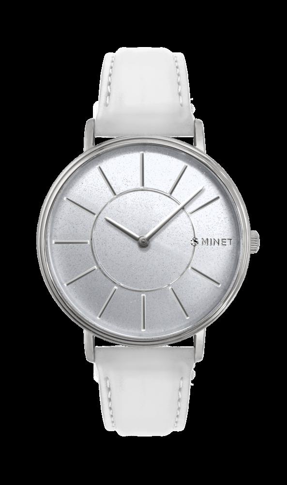 Třpytivé stříbrno-bílé dámské hodinky MINET BROADWAY SILVER STAR MWL5032