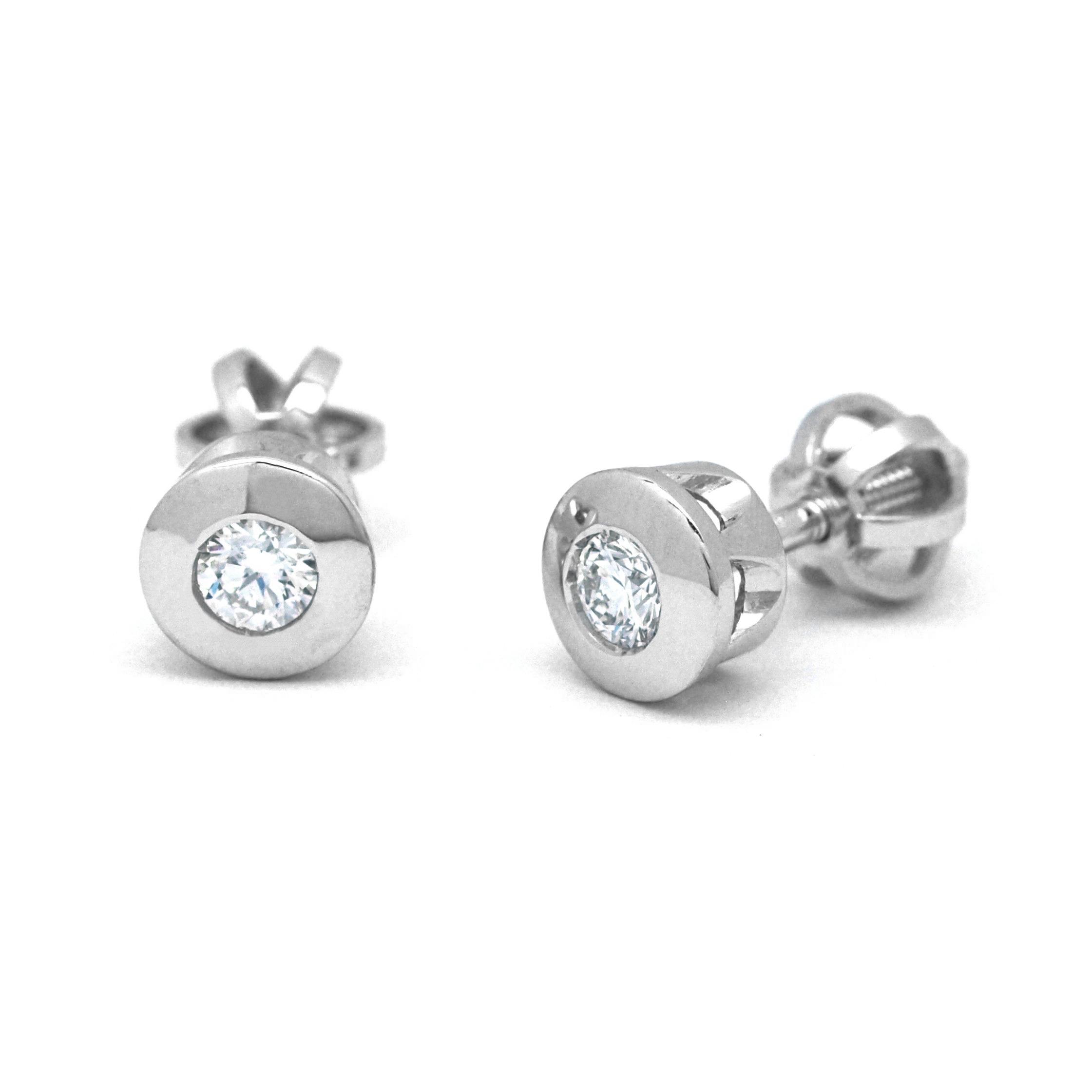 Ručně vyrobené náušnice z bílého zlata s diamanty na šroubek J-30412-18 (J-30412-18 - POŠTOVNÉ ZDARMA!!)