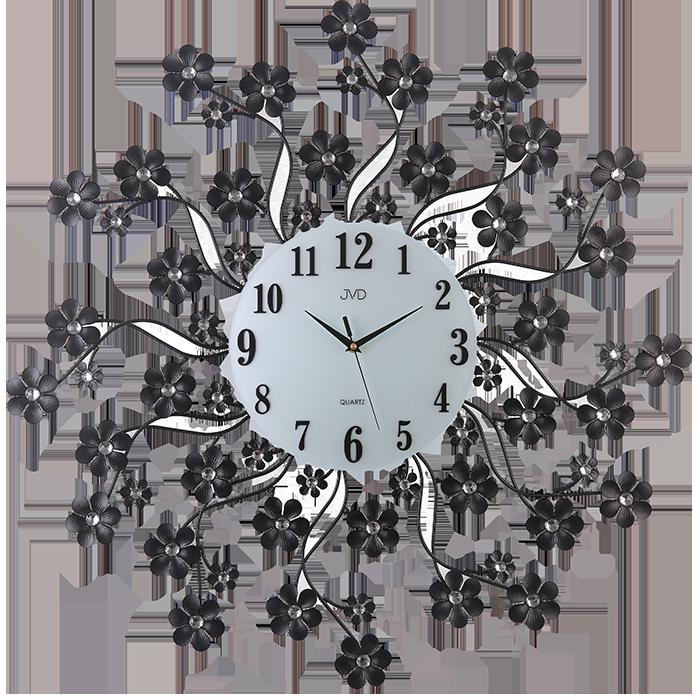 Paprskovité kovové skleněné designové květinové hodiny JVD HJ85 (POŠTOVNÉ ZDARMA!!)